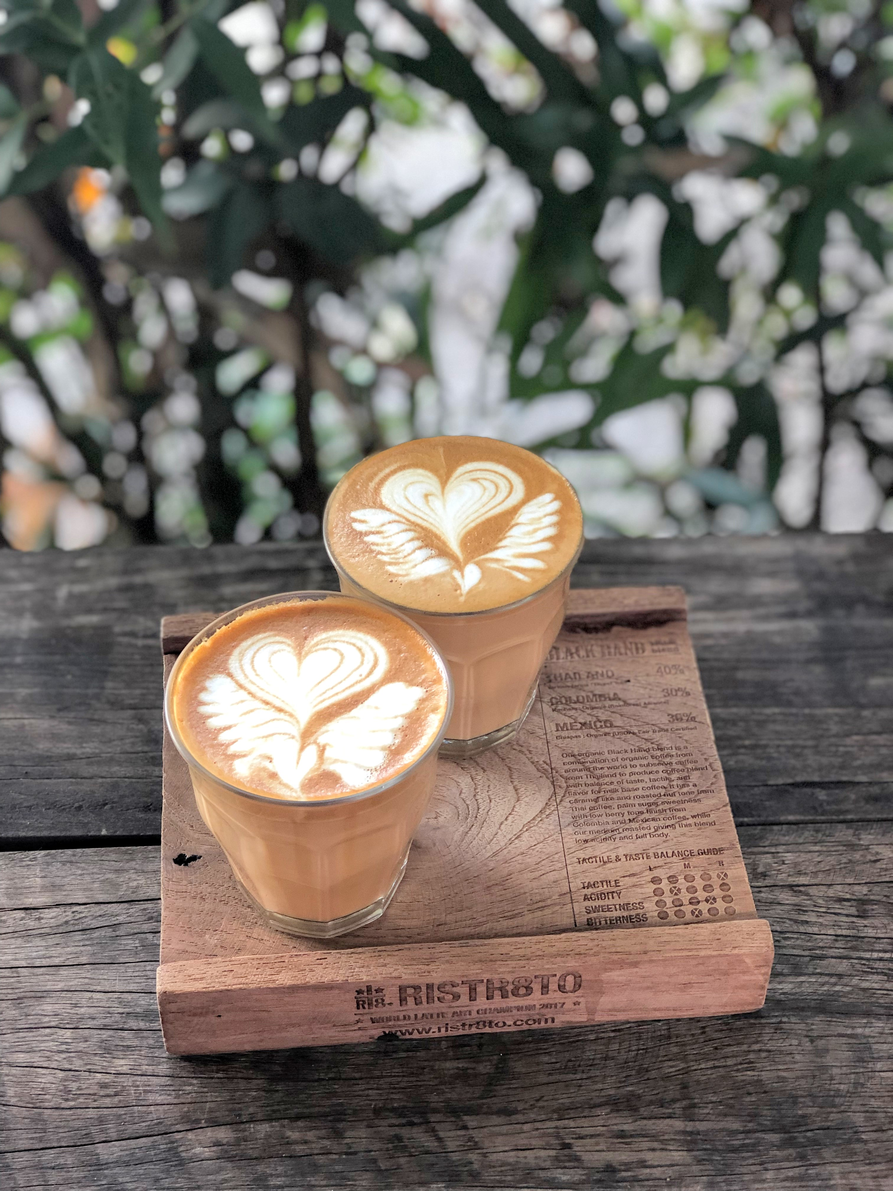 Our delicious and beautiful lattes from Ristr8to in Chiang Mai, Thailand